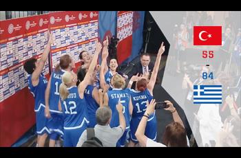 La joie de l'équipe grecque après avoir battu la Turquie