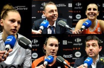 Marine Johannès et Valéry Demory (Lyon ASVEL) ; Ana Dabovic, Elodie Godin et Olivier Lafargue (Tango Bourges)