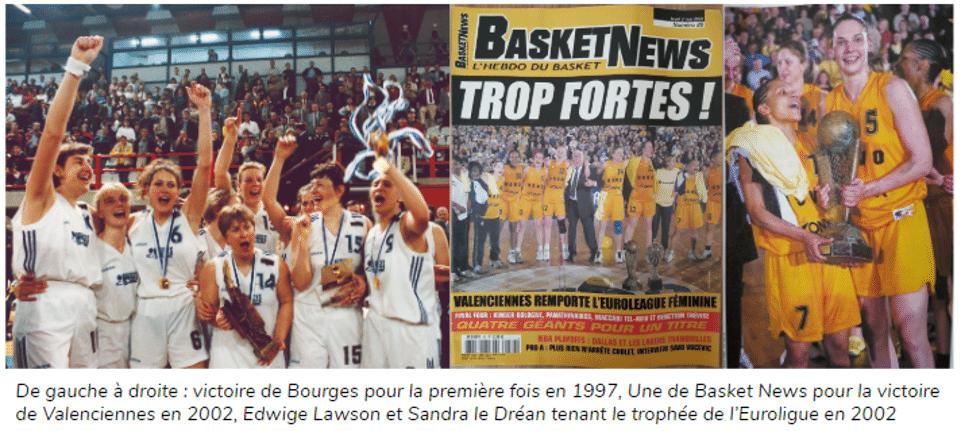 victoire de bourges en euroligue en 1997, la une de basket news pour la victoire de valenciennes en 2002