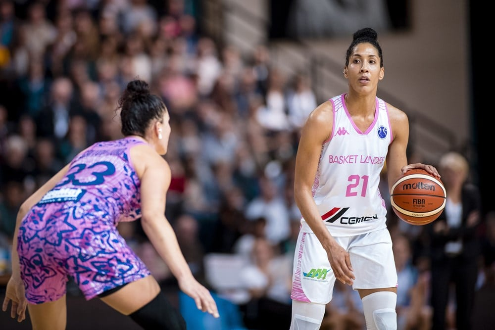 Miranda Ayim dans le match d'Eurocup 2018-19 entre Basket Landes et Tarbes